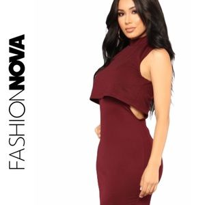 Fashion Nova Burgundy Cutout Bodycon Dress